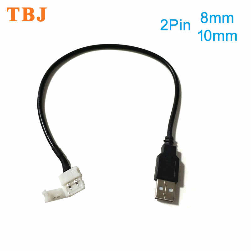 30 Cm 2pin 8 Mm/10 Mm Usb Kabel Om Led Strip Connector Gratis Lassen Led Connector Voor DC5V 5050 2538 Led Strip Licht