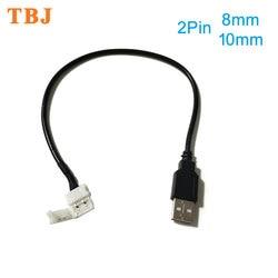 30 см 2pin 8 мм/10 мм USB кабель для светодиодной ленты Разъем бесплатная Сварка светодиодный разъем для DC5V 5050 2538 светодиодный светильник