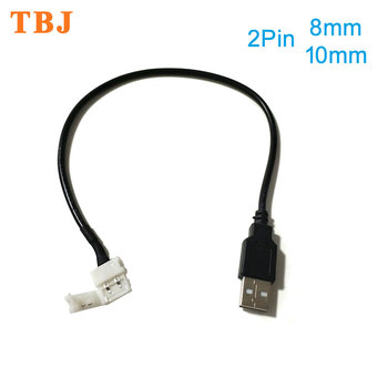 30cm 2pin 8mm /10mm USB Cable to LED Strip Connector Free Welding for DC5V 5050 2538 Light