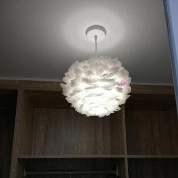Tüy Kolye Işık İskandinav Çocuk Odası Yatak Odası Asılı Lamba Romantik Net Eed Tüy Işık Modern Minimalist Kolye Lambaları