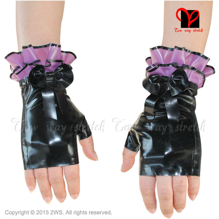 ᓂSexy latex guantes sin dedos goma glovelettes Gummi mitones mini ...