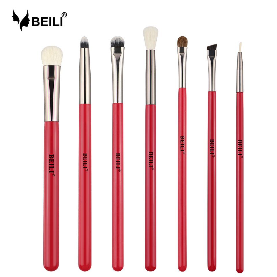 BEILI Red Eye Makeup Brush Set Goat Hair Pony hair Synthetic hair Eye shadow Blending Makeup Brush Set Professional 3