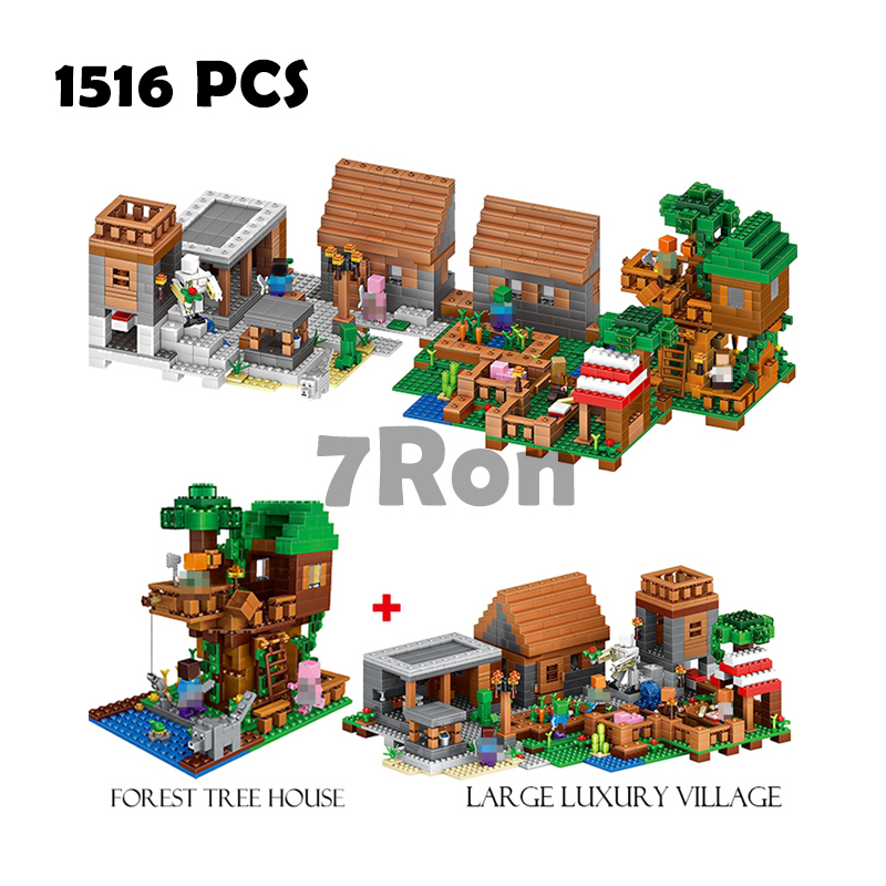 Compatible with lego Models building toy 33068 1516PCS My World The Village & Jungle Tree House Building Blocks toys & hobbies compatible with lego ninja 70596 models building toy 10530 1307pcs base home samurai x cueva building blocks toys