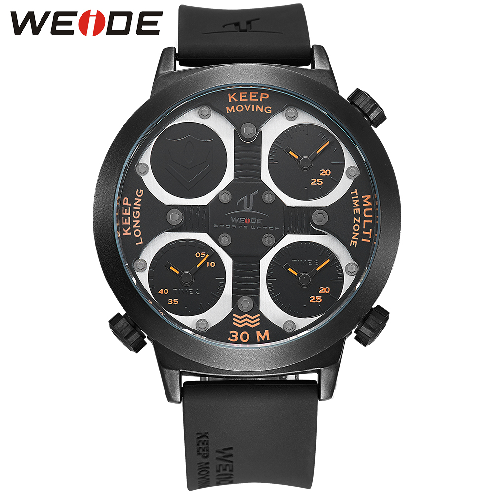 WEIDE Brand Quartz Sports Watches Men Military Army Black Waterproof Male ClockMultiple Time Zone watch With Gift Box / UV1503 weide 2017 new men quartz casual watch army military sports watch waterproof back light alarm men watches alarm clock berloques