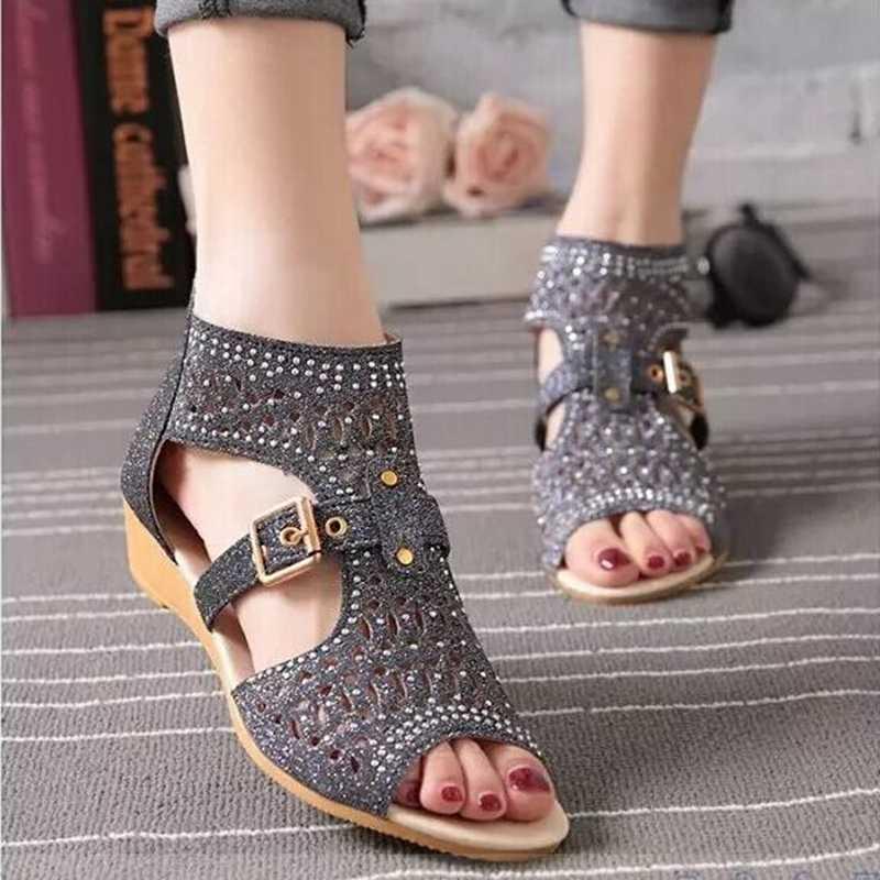 Sandalet Kadın 2018 Yaz Yeni Moda Platformu Kama Sandalet Kadın Rahat Roma Burnu açık Yaz Ayakkabı Kadın yarım çizmeler