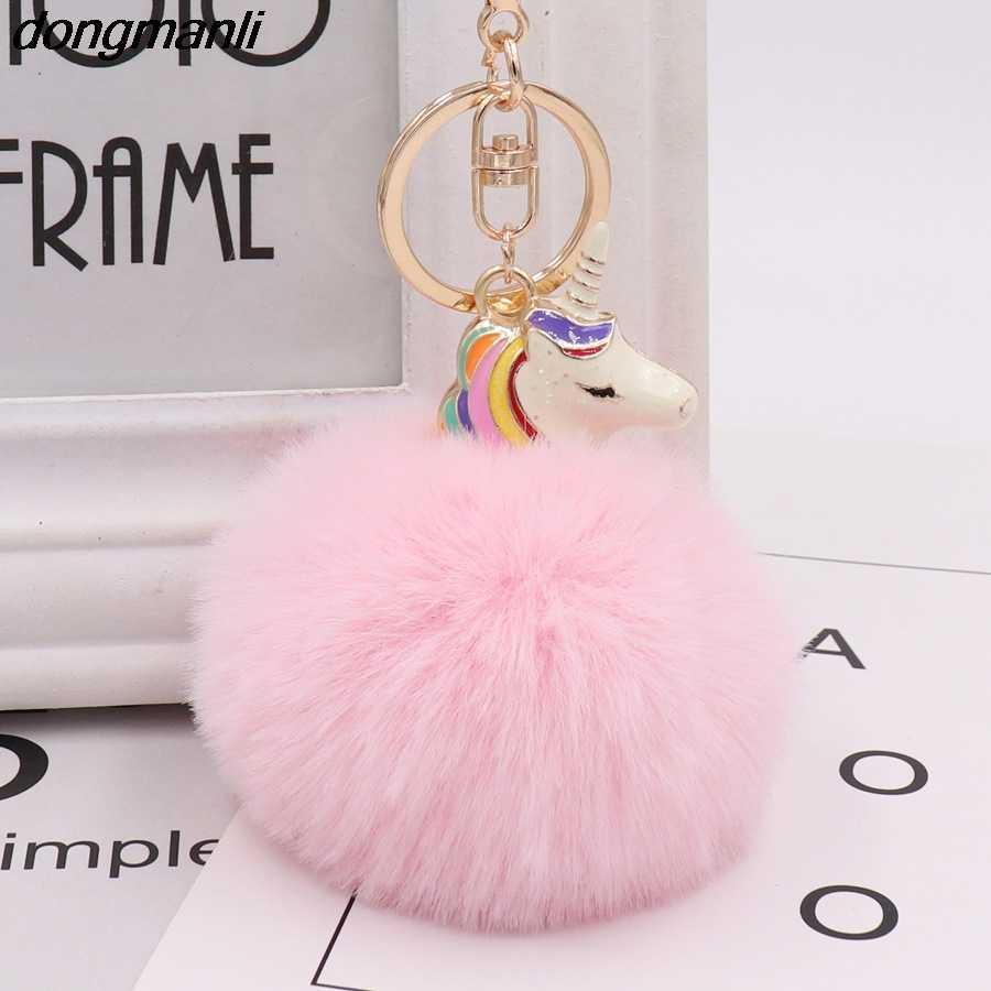 P1537 Dongmanli Legal Cor Hit Esmalte cavalo Fur Pom Pom Bola Chaveiro Multicolor Mix Rainbow Correntes Chaves Chave Do Carro Animais anéis
