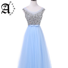 Ameision New luxury long style dresses bling beading tulle evening prom party crystal pearls floor length formal dress