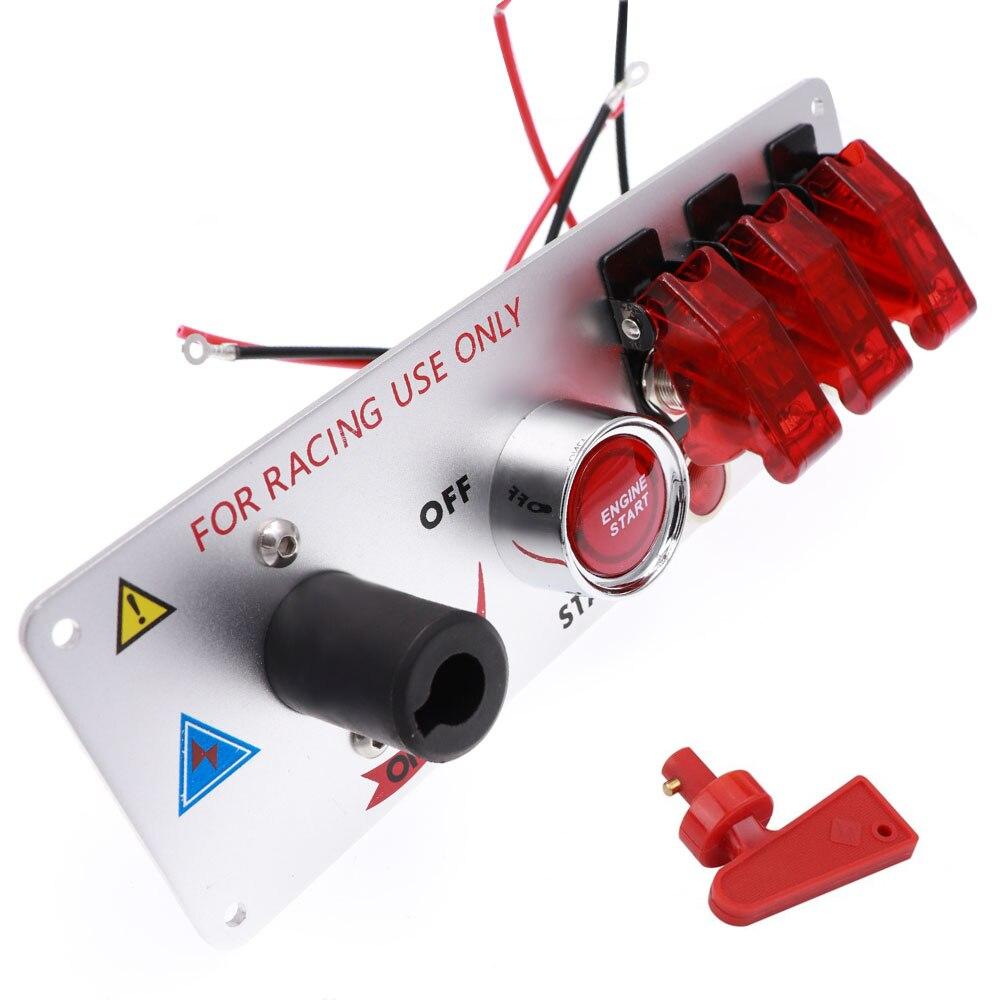 Высококачественный, прочный, удобный, 12 В, Автомобильный светодиодный переключатель зажигания, панель переключателя, набор пусковых устано...