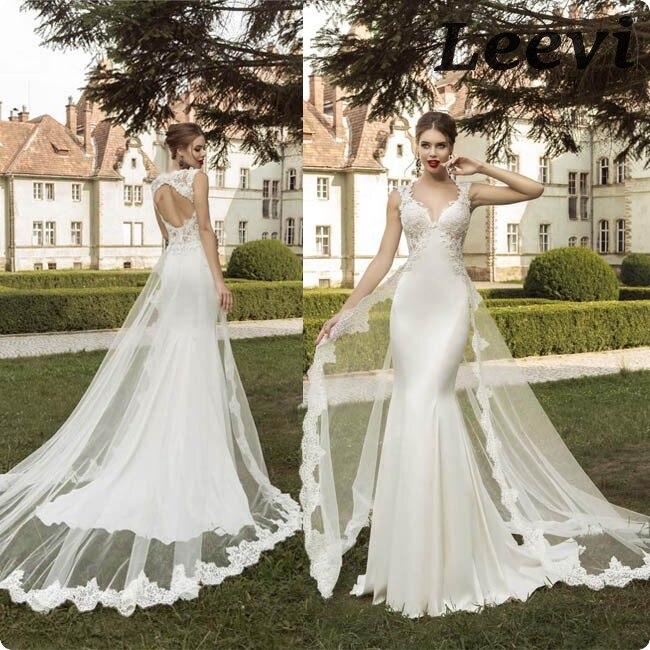 vestidos de noiva sereia vintage desmontable falda envoltura