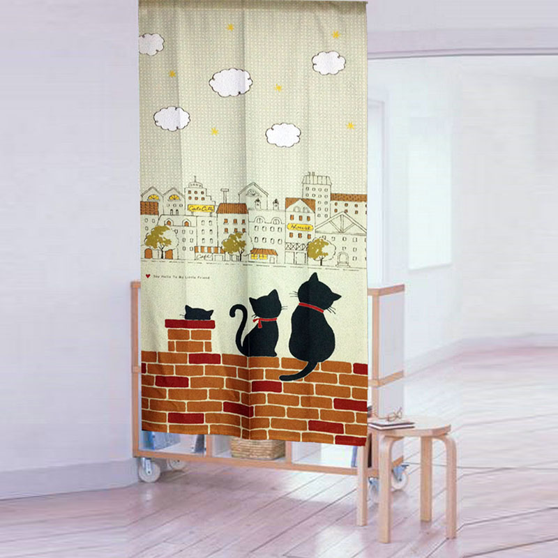 Nice Curtains Lovely Cats Watch Your Home Curtain High Quality Tricot Yarn  Print Door Curtain Kitchen  Kitchen Door Curtains
