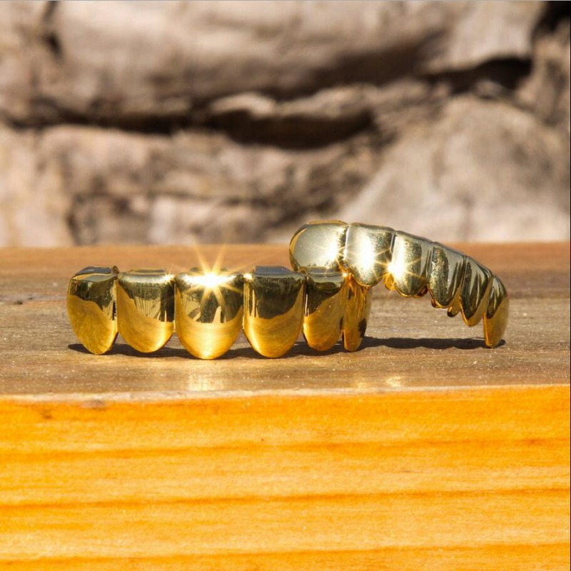Gold Plated Teeth Hip Hop Rapper Bling Golden Guard Kit Pacifiers Grill