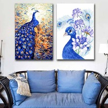 DIY colorings pictures by numbers with colors Peacock Queen picture drawing painting  framed Home decor Two pieces