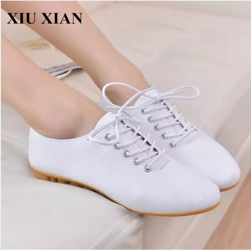 Women Flats Oxfords Shoes Korean Women Casual Lace Up White Flats Shoes Summer Pointed Toe Ladies Flats Heel Shoes Size 35-40 PU new 2017 spring summer women shoes pointed toe high quality brand fashion womens flats ladies plus size 41 sweet flock t179