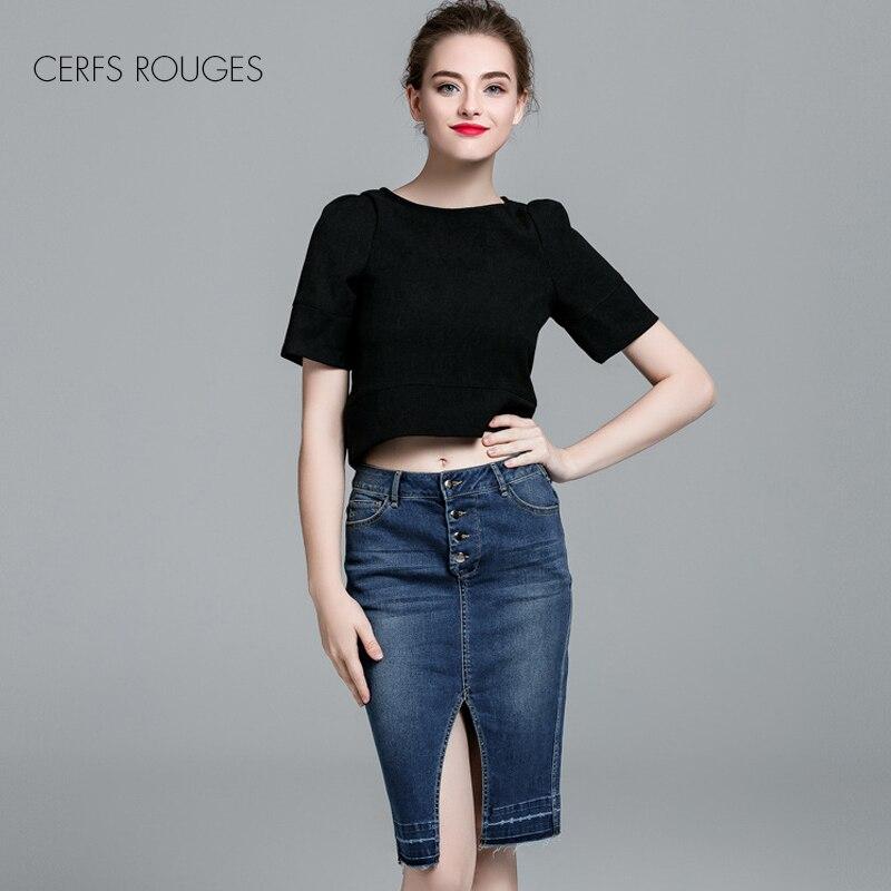 2018 New Fashion Women Denim Split Short Skirt European And American Style Ladies Lovely Bud Skirt Knee-Length High Quality