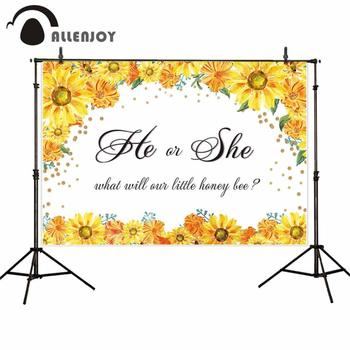 Allenjoy backdrops Photo background Yellow sunflower branches Gender revealing party photography photocall photobooth photophone image
