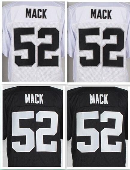 Barato del fútbol americano Jersey #52 mack Jerseys negro blanco ...