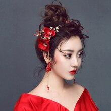 Diadèmes de mariée et boucles doreilles en cristal, couronnes de fleur de Rose rouge, accessoires de mariage chinois, Vintage, ML081, nouvelle collection
