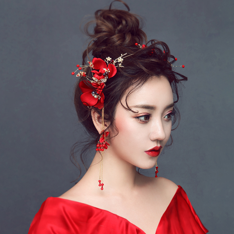 New Bridal Red Rose Flower Crowns for Women Wedding Crystal Tiaras and Earrings Vintage Chinese Wedding Hair Accessories ML081