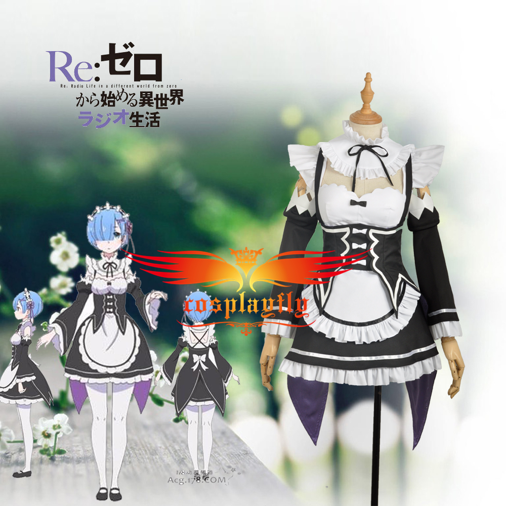 Re:Zero/Re:Life in a Different World from Zero Rem Maid Outfit Cosplay Costume Any Size   Adult Women Outfit Clothing Dress
