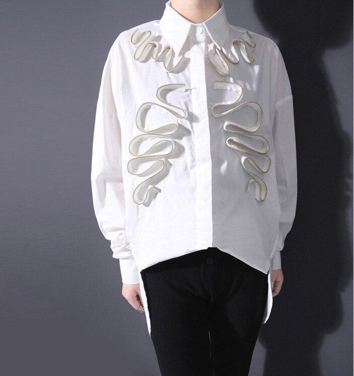 Nuevas Mujeres Del Resorte Blanco de Manga Larga Negro Blusa Camisa 3D Ruffles L