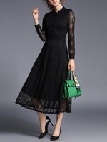 Women High Waist Elegant Party Band Collar Long Sleeve Hollow Out Fit And Flare Sheer Lace
