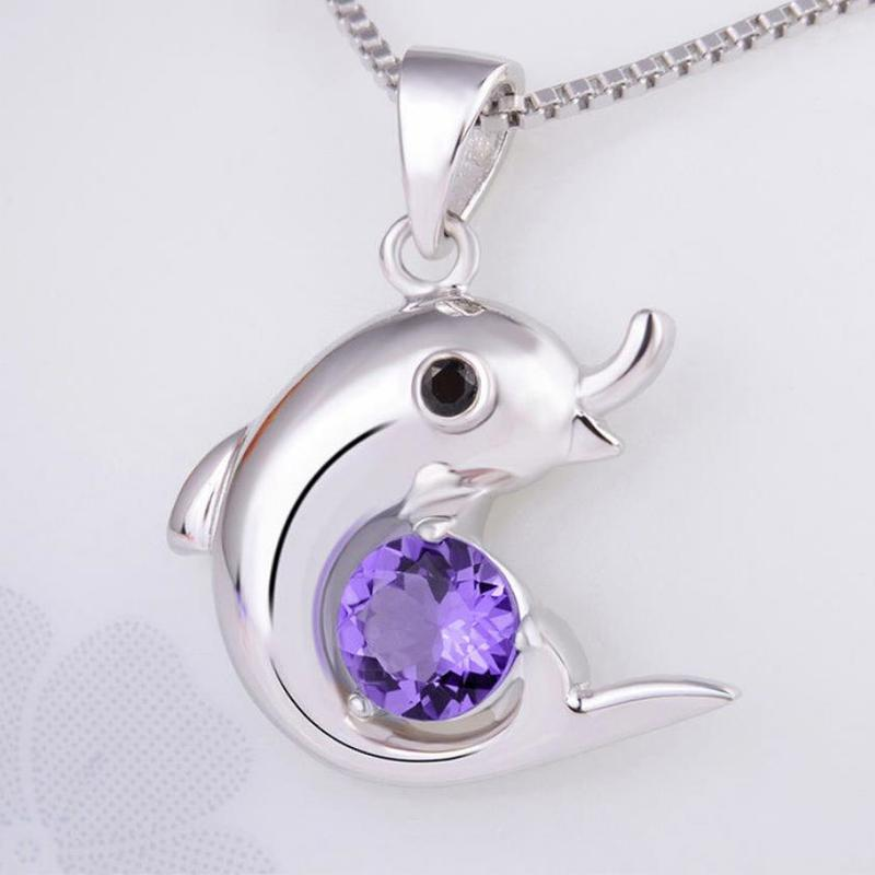 Everoyal Fashion Crystal Purple Dolphin Necklace Silver Jewelry For Women Trendy 925 Girl Accessories Lady
