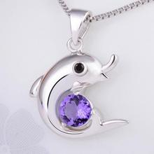 Everoyal Fashion Crystal Purple Dolphin Necklace Silver Jewelry For Women Trendy 925 Silver Necklace For Girl Accessories Lady equte elegant crystal dolphin pendant necklace for women silver pink