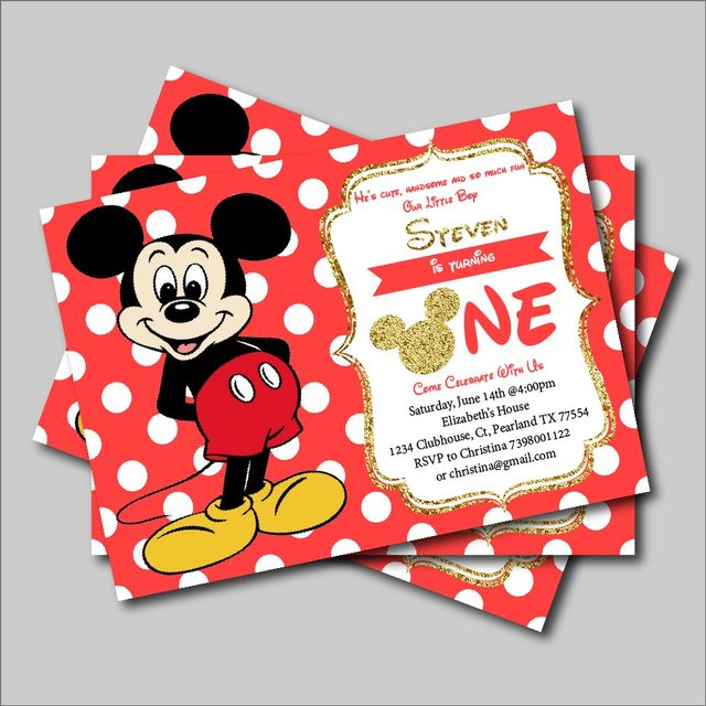 20 pcs/lot Mickey Mouse Birthday invitation Boys Mickey Mouse Baby
