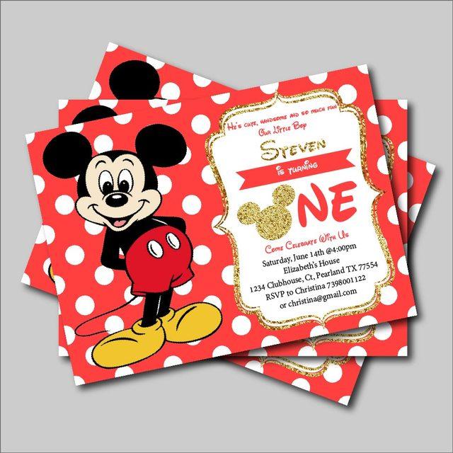 20 Stks Partij Mickey Mouse Verjaardag Uitnodiging Jongens Mickey