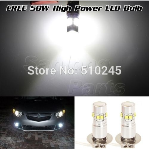 30X High Power Super White 50W 6000k projector H3 LED Bulb for Fog Driving Brake Stop Lamp Bulb free shipping