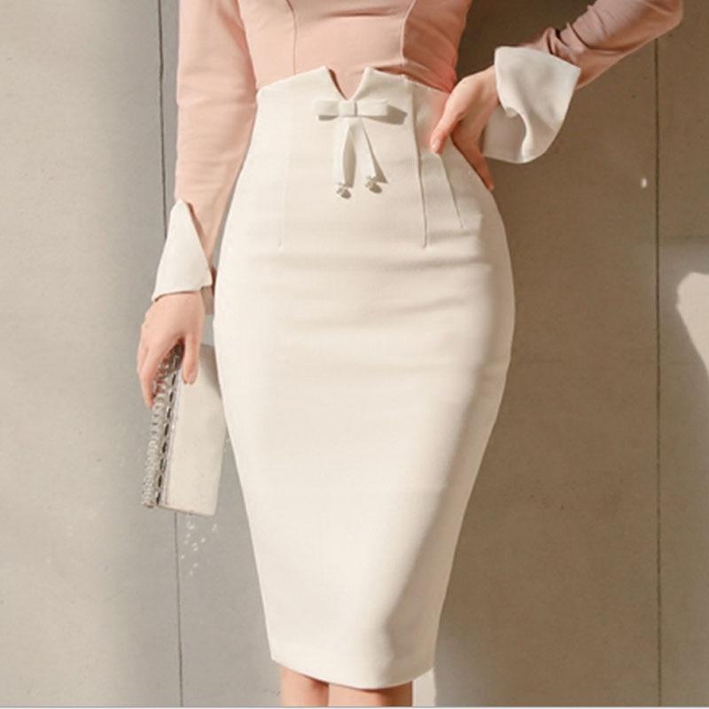 2019 Spring High Waist Office Bodycon Midi Skirts New White Women Midi Pencil Skirt Zipper Split Knee Length Skirt