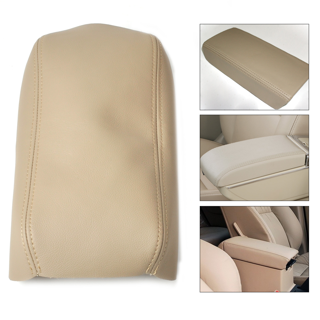 DWCX Car Auto Beige Leather Front Console Lid Armrest <font><b>Cover</b></font> Decoration for <font><b>Honda</b></font> <font><b>Accord</b></font> 2003 2004 2005 2006 <font><b>2007</b></font> DIY image