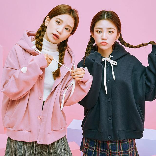 2018 Women'S Korean Harajuku Cute Love Embroidery Hooded Female Velvet Kawaii Top For Wome