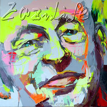 Palette knife portrait Face Oil painting christmas figure canva Hand painted Francoise Nielly wall Art picture for living room41