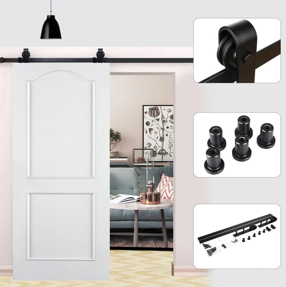 Image 2 - Sliding Door Wood Door Slide Rail System Antique Track puerta corredera shower roller coulissante 6FT(1830mm )/ 6.6FT(2000mm)-in Door Rollers from Home Improvement