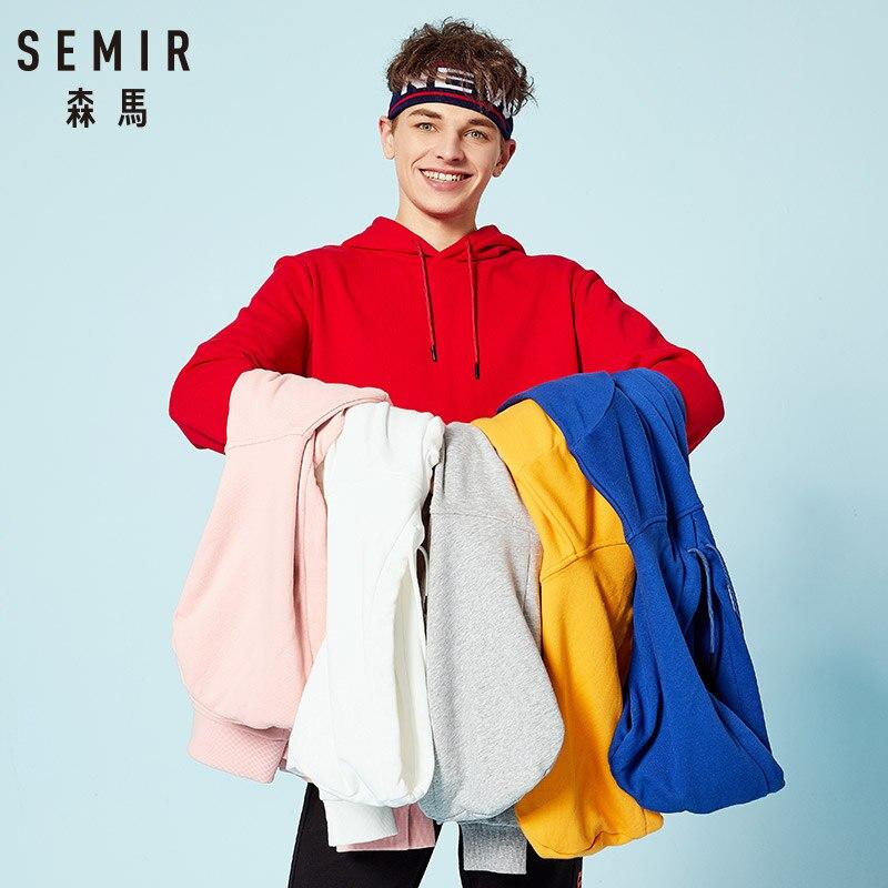 SEMIR Hoodies Men 2018 New Autumn Fashion Solid Hooded Sweatshirts for man Casual Warm Fleece Hoody Tracksuit Brand Clothing in Hoodies amp Sweatshirts from Men 39 s Clothing