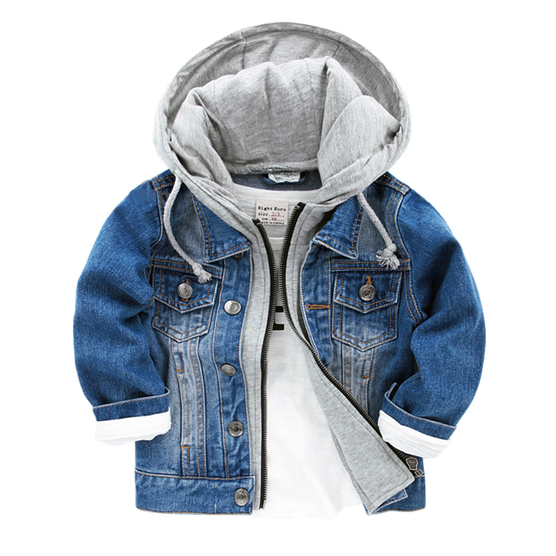 2016 New Baby Boys Denim Jacket Classic Zipper Hooded Outerwear Coat Spring Autumn Children Clothing Kids