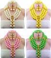 10 Color Beads Africanos Joyería Set 2016 Nigeriano Perlas Africanas de la Boda para Las Novias Partido Joyería Nupcial Conjunto Envío Gratis WB913