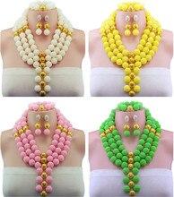 10 Цвет Африканские Бусы Jewelry Set 2016 Нигерийские Свадебные Африканские Бусы для Невесты Партии Люкс Комплект Ювелирных Изделий Бесплатная Доставка WB913