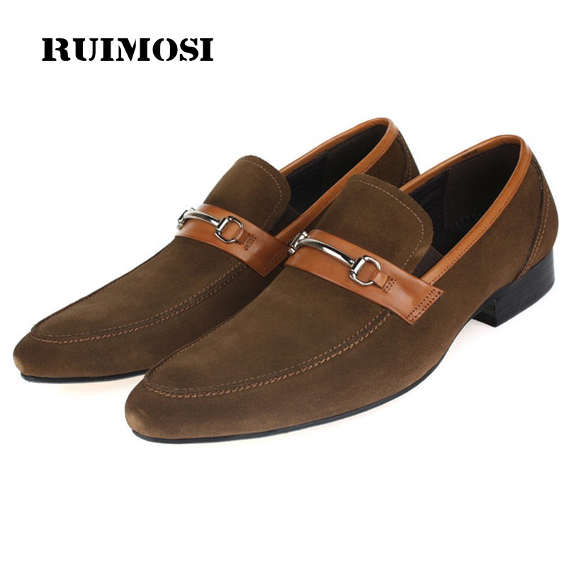 RUIMOSI Italian Designer Luxury Man Casual Shoes Genuine Leather Suede Loafers Formal Brand Pointed Men's Handmade Flats BD86