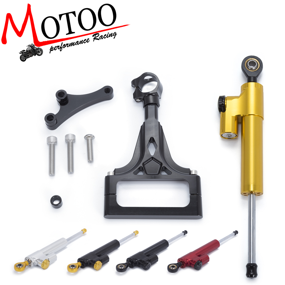 Motoo - Motorcycle Full set CNC Steering Damper Stabilizerlinear Linear Stabilizer Bracket kit For KAWASAKI Z1000 Z750 2003-2009