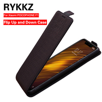 RYKKZ Genuine Leather Flip Up and Down Case Cover For Xiaomi POCOPHONE F1 Mobile Phone Stand Case Leather Cover For Xiaomi F1