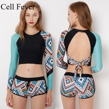 Swimsuit For Surfing Rash Guard Bathing Suit Fitted Beach Wetsuit Two Piece Surf Female Backless Long Sleeve Swimwear