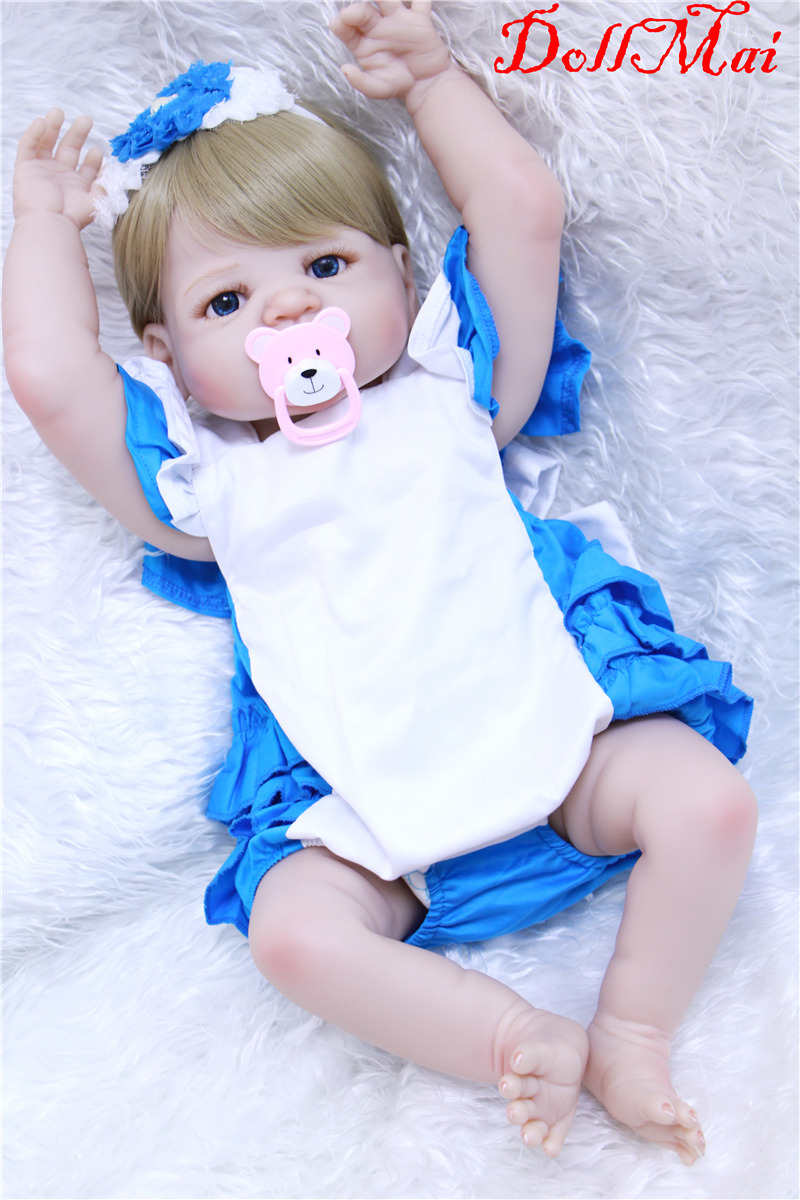Lovely reborn girl dolls 22inch full silicone reborn baby dolls toys for children birthday gift newborn baby size bebe-rebornLovely reborn girl dolls 22inch full silicone reborn baby dolls toys for children birthday gift newborn baby size bebe-reborn