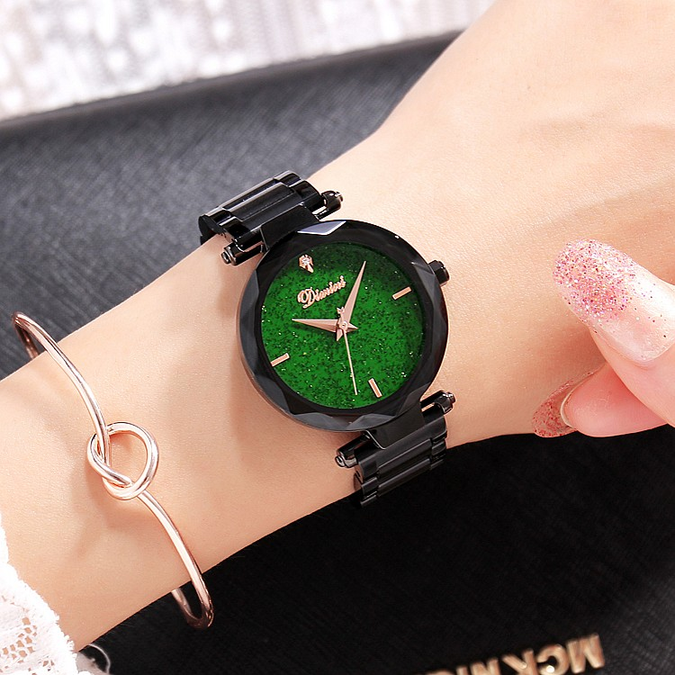 2 Pieces Luxury lady Crystal Watch Women Green Dress Watch.Fashion Gift Rose Gold Watches Female Stainless Steel Wristwatches guess dress steel w0609g2 page 2
