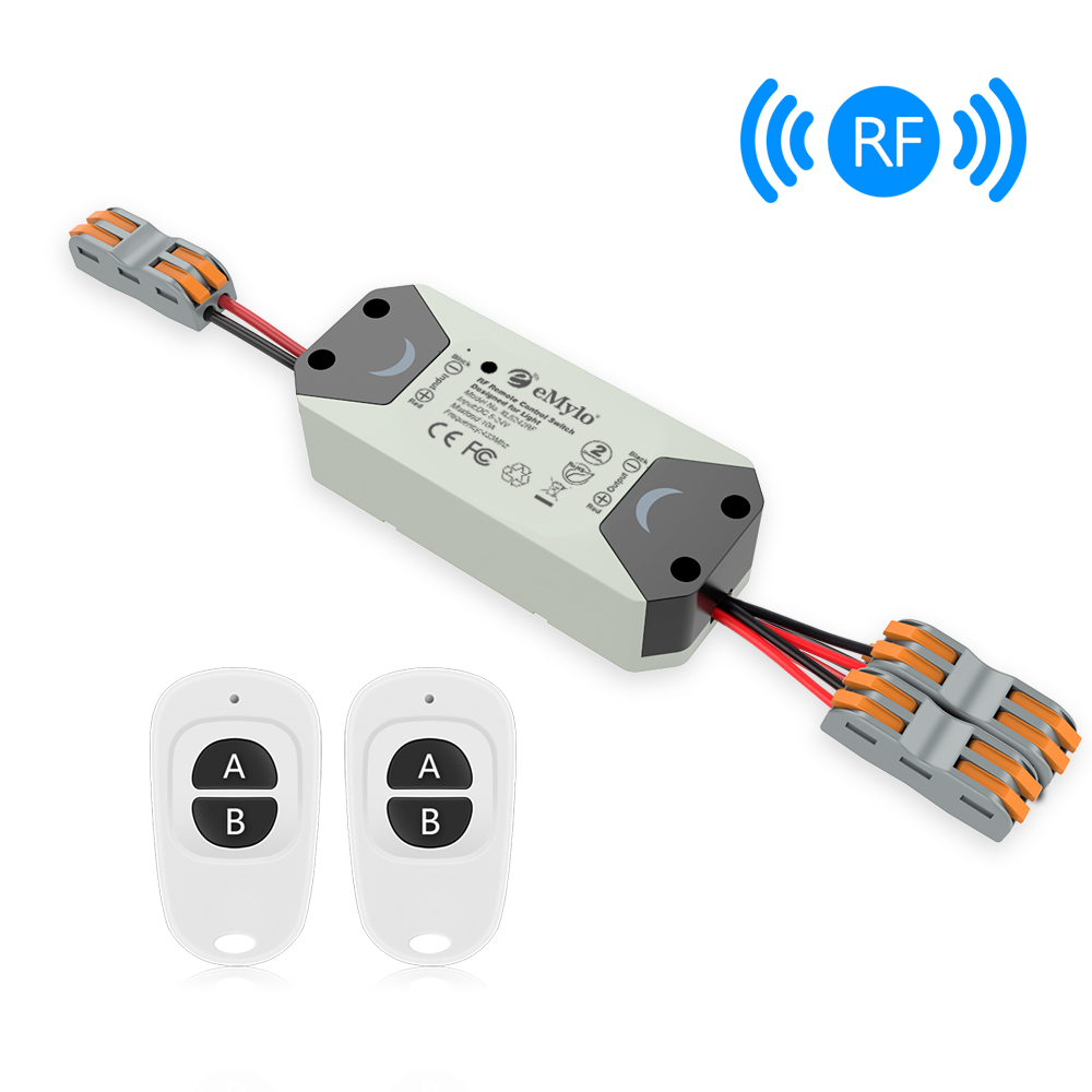 US $13 39 28% OFF|eMylo Wireless Relay Switch DC 12V 2 Channel RF Relay  Module 5 24V 433Mhz Remote Control Switch with Two Transmitters-in Switches
