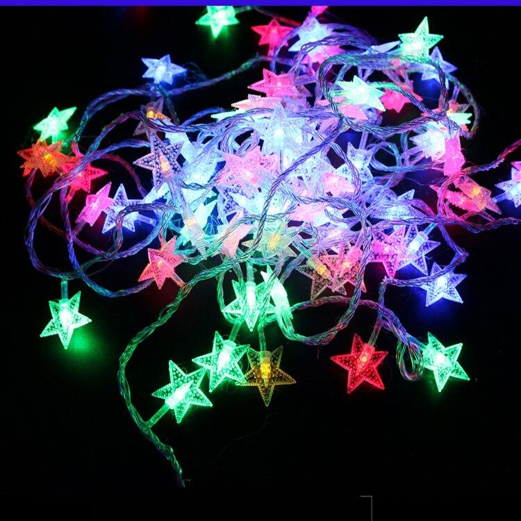 220V / 110V 10M 100Led Frosted Crackle Star Garland String Lights - Pencahayaan perayaan - Foto 6