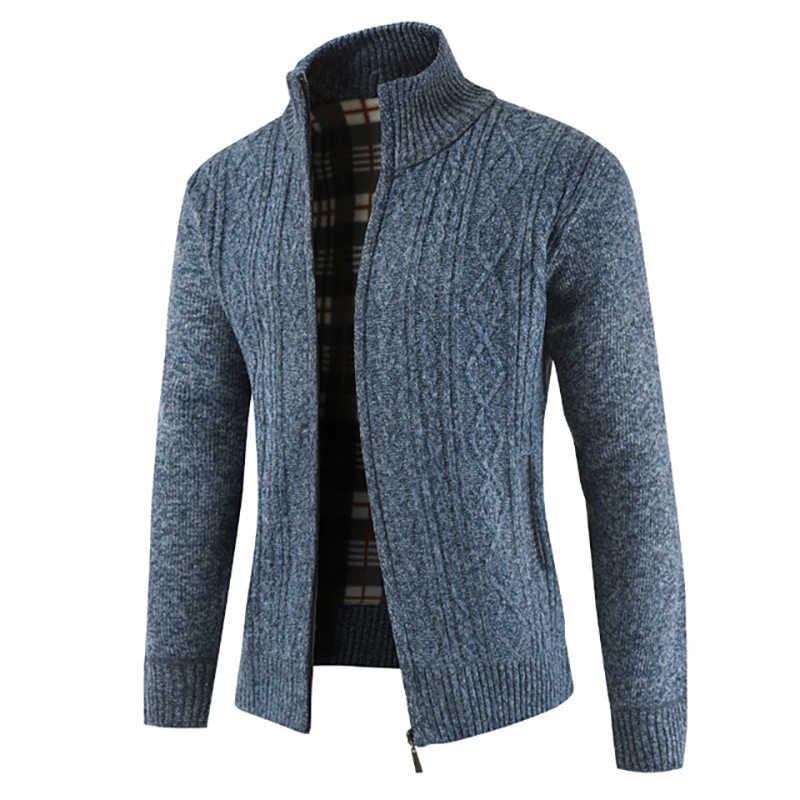 Модный мужской толстый свитер воротник толстый кардиган мужская одежда 2019 свитер пальто свитер с длинными рукавами Рождественский хит продаж