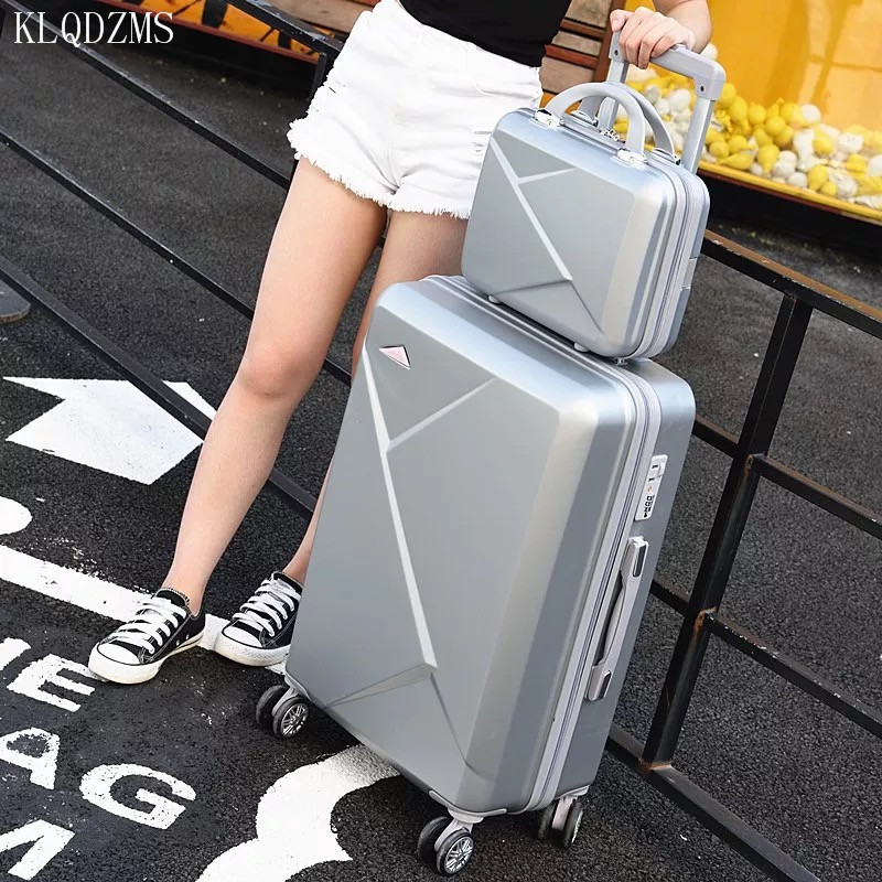 KLQDZMS 2PCS/SET lovely 20/22/24/26/28inches trolley case ABS rolling luggage set students travel luggage on wheels