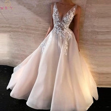 A-Line Evening Dresses 2019 Appliques with Tulle Sleeveless V neck Wedding Party Dresses Open Back Dress Women&Girls robe soiree